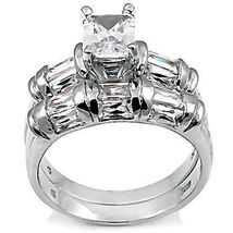 4.7ct Emerald Cut Russian Ice CZ Wedding Ring Set sz 5 - $69.00