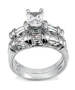 4.7ct Emerald Cut Russian Ice CZ Wedding Ring Set sz 6 - $69.95