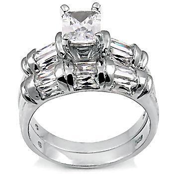 4.7ct Emerald Cut Russian Ice CZ Wedding Ring Set sz 6