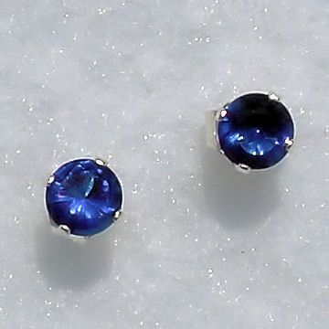 4mm Ceylon Sapphire created Stud Earrings 925 SS 0.5ct