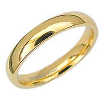 4mm Comfort Fit Gold Stainless Steel Wedding Band sz 10 - $12.00