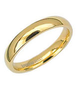 4mm Comfort Fit Gold Stainless Steel Wedding Band sz 11 - $11.00