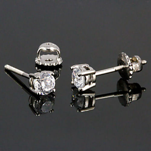 4mm Screw-Back Brilliant Cut Russian Ice CZ Stud Earrings 925 Silver 0.5 carats