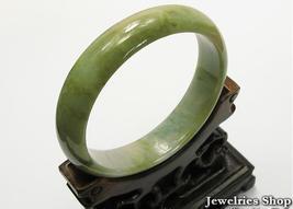 Elegant Natural  Yellow Green Jade Bangle 58mm image 1