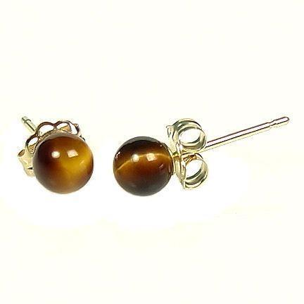 4mm Tigers Eye Ball Stud Earrings 925 Sterling Silver