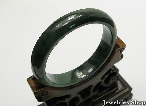 Estate Natural  Dark Green Jadeite Jade Bangle