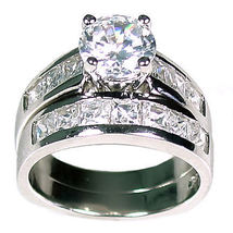 5.38 ct Russian Ice CZ Wedding Ring Set 925 Silver s 10 - $86.99