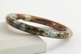 "7"" ESTATE VINTAGE Jewelry CHINESE EXPORT BRICK RED CLOISONNE BANGLE BRAC... - $35.00"
