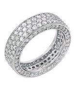 5.3c Iced Out 3 Lines Russian CZ Eternity Band Ring s 9 - $81.00
