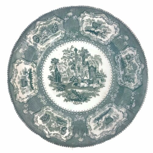 Antique 19C Staffordshire Green Transferware Plate Cows Cattle Abbey Church U22 - $70.13