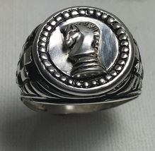 Knights Chess Mens Coin ring sterling silver pinky ring - $70.00