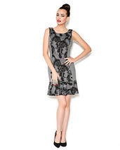 Betsey Johnson Sweetly Lacy Print Grey Black Sheath Sleeveless Dress Sz ... - $848,10 MXN