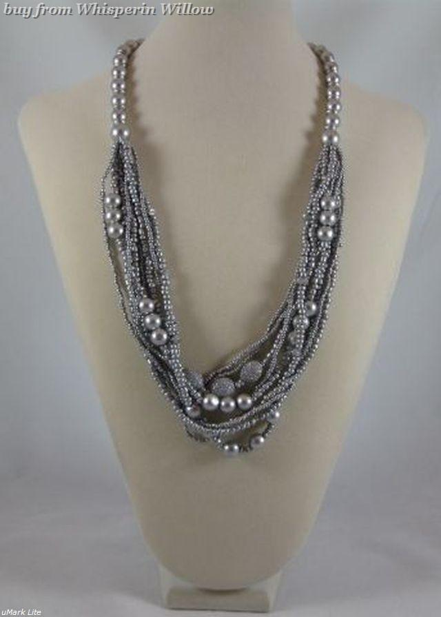 Primary image for Silver Wood Bead Multi-Strand Fashion Necklace