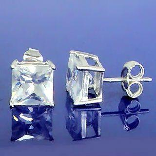 5.8ct, 8mm Princess Cut Russian CZ BASKET Set Earrings