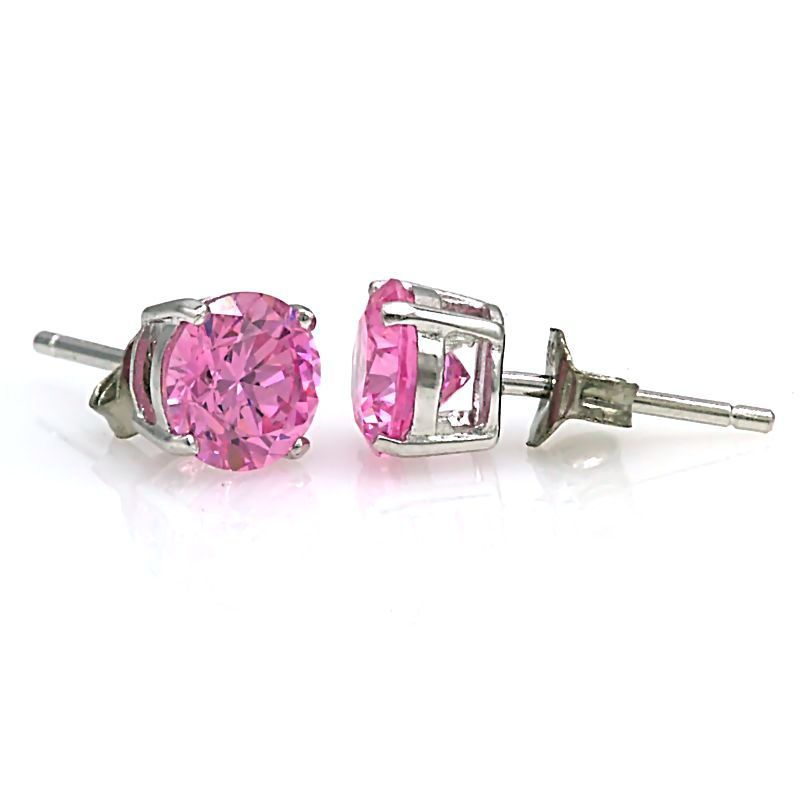 5mm 1.0 carats Pink Sapphire Ice CZ Cast Basket Set Stud Earrings 925 Silver