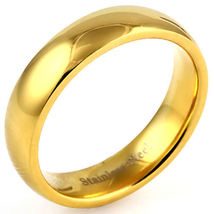 5mm Comfort Fit Gold Stainless Steel Wedding Band sz 10 - $13.00