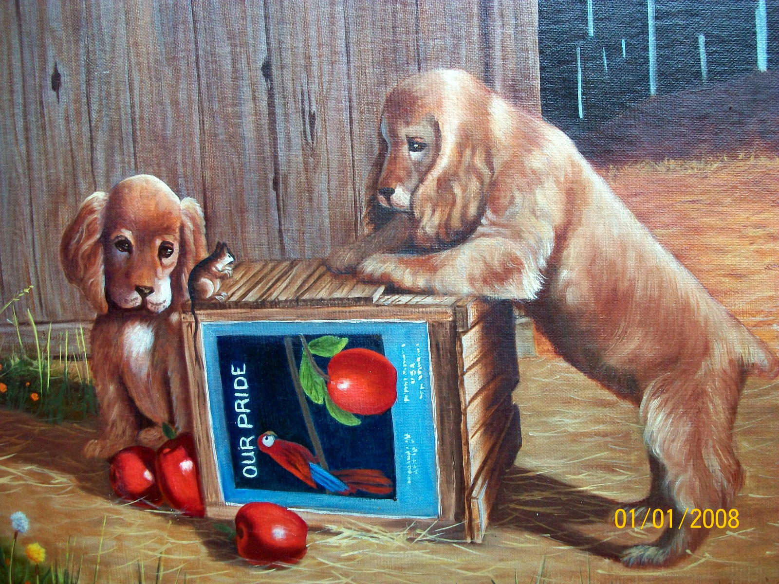 Sweet Pair Blonde Cocker Spaniel Dogs Unframed Oil Painting,Apples,Apple Crate