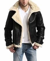 B3 Aviator Pilot White Fur Shearling Bomber Black Leather Jacket Winter Hoodie image 2