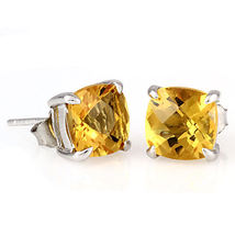 6.5ct 8mm Golden Citrine Crystal Cushion Cut Stud Earrings 925 Sterling Silver - $24.00