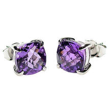6.5ct, 8mm Purple Amethyst Crystal Cushion Cut Stud Earrings 925 Sterlin... - $39.00