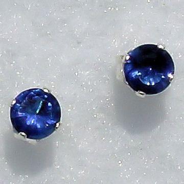 6mm Ceylon Sapphire created Stud Earrings 925 SS 1.5ct