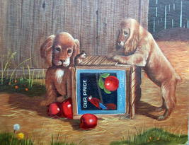 Sweet Pair Blonde Cocker Spaniel Dogs Unframed Oil Painting,Apples,Apple Crate image 2