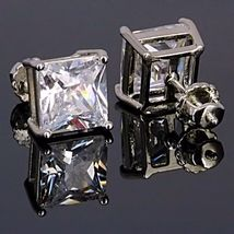 7mm Screw-Back Russian Ice CZ Stud Earrings 925 Silver Princess Cut 4.0 carats - $26.00
