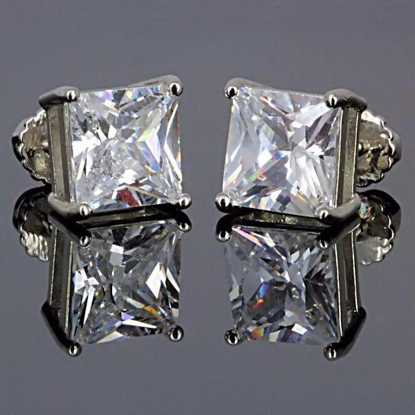 7mm Screw-Back Russian Ice CZ Stud Earrings 925 Silver Princess Cut 4.0 carats