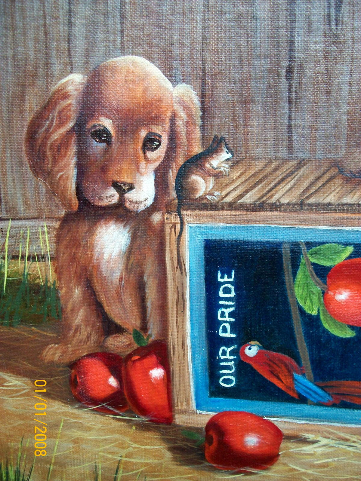 Sweet Pair Blonde Cocker Spaniel Dogs Unframed Oil Painting,Apples,Apple Crate image 3