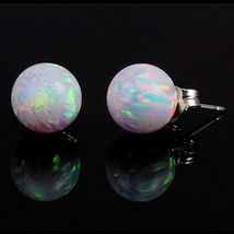 8mm Australian Fiery White Opal Ball Stud Earrings 925 Sterling Silver - $35.00