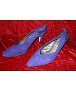 Vintage Jasmin Purple Suede Leather Shoes Pump Heel 8.5 - $24.99