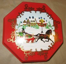 Vintage Ullman Christmas Red Plastic Octagon Box Winter Horse Sled Snow - $35.00