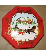 Vintage Ullman Christmas Red Plastic Octagon Box Winter Horse Sled Snow - $35.00