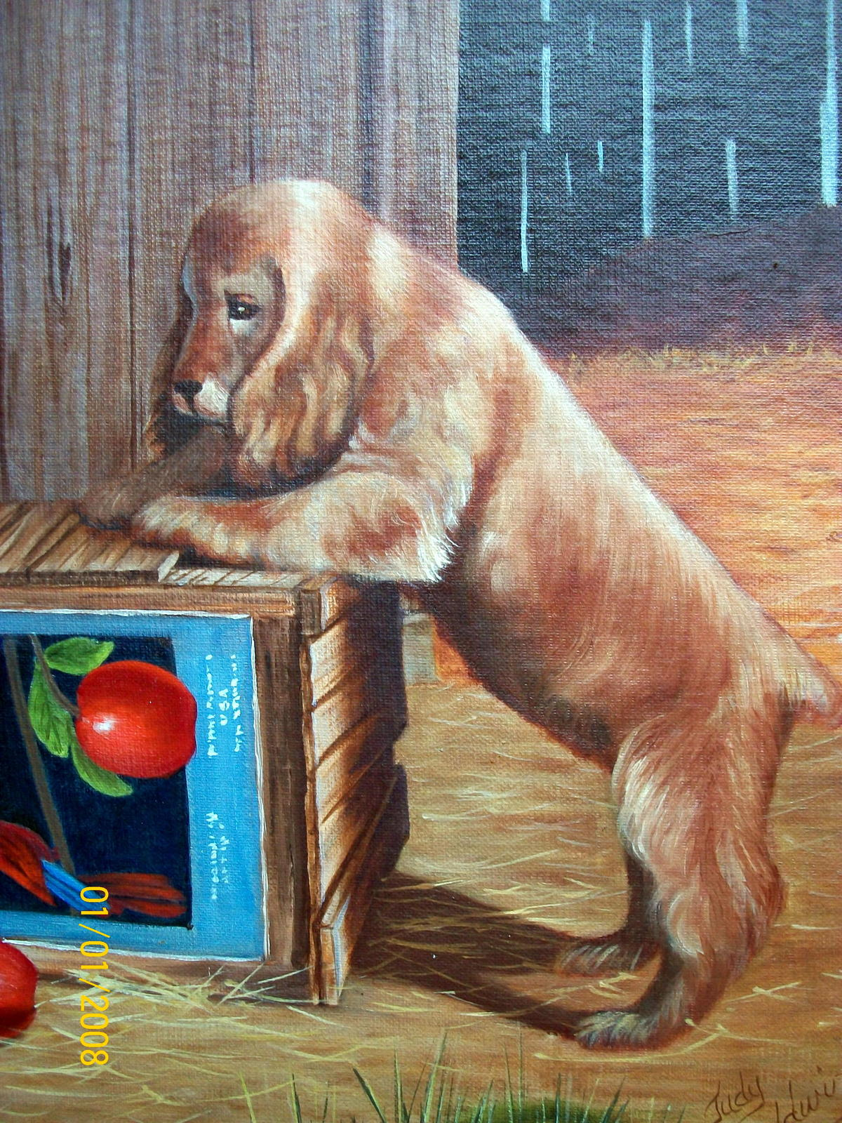 Sweet Pair Blonde Cocker Spaniel Dogs Unframed Oil Painting,Apples,Apple Crate image 4