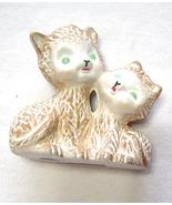 Miniature Ceramic Brown Kitty Cats with Green Eyes Handpainted - $9.99