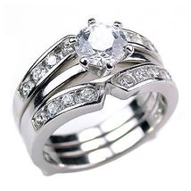 Holly: Sterling Silver 2.2ct Russian Ice on Fire CZ Wedding Set with Rin... - $69.95