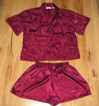 Vintage 90S Victorias Victoria's Secret Satin Paisley Shiny Burgundy Pajamas S - $47.02