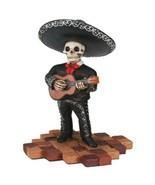Short Skeleton Skull Black Mariachi Band Guitar Statue - $15.83