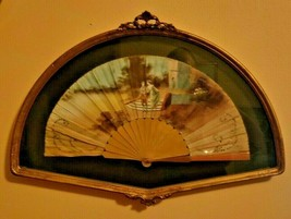 Antique Hand Fan Fabric Hand Painted Victorian Couple Wooden Box - $94.99