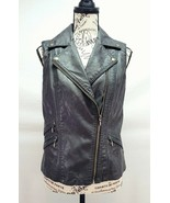 INC International Concepts Dark Brown Vegan Faux Leather Vest - Size S - £10.90 GBP