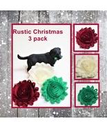 Rustic Christmas Flowers for dog collar, Pet Xmas set of 3, burgundy gre... - $11.00