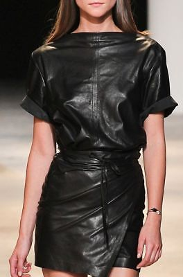 Stylish Wrapped Waist Hot Women's Short Cap Sleeve Genuine Mini Leather Dress