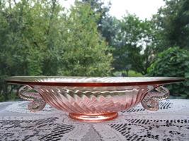 Fenton Vintage Rose Pink Spiral Optic Dolpin Handled Bowl - $35.00