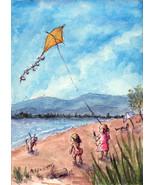 ACEO Original Kids Flying Kite children beach wind lake scenic playing - $16.00