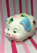 Darling Vintage Ceramic Piggy Bank Hand Painted Flowers w/Pink and Blue ... - $14.00