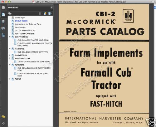 McCormick INTERNATIONAL Harvester FARM IMPLEMENTS for Farmall Cub PARTS MANUAL