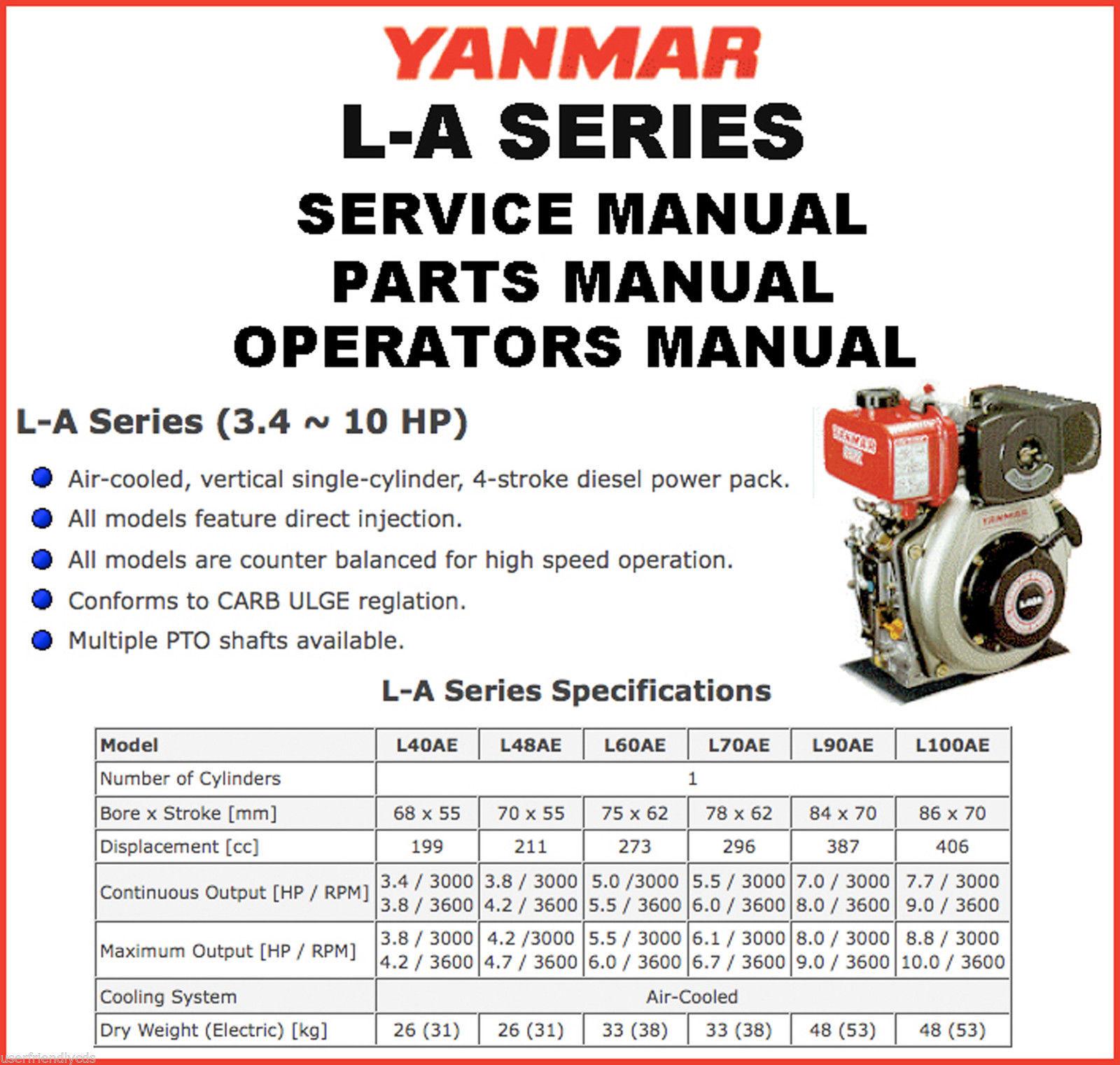 YANMAR L-A Engine SERVICE MANUAL & Parts Catalogs & Operator -4- MANUALS CD