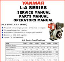 YANMAR L-A Engine SERVICE MANUAL & Parts Catalogs & Operator -4- MANUALS CD image 1