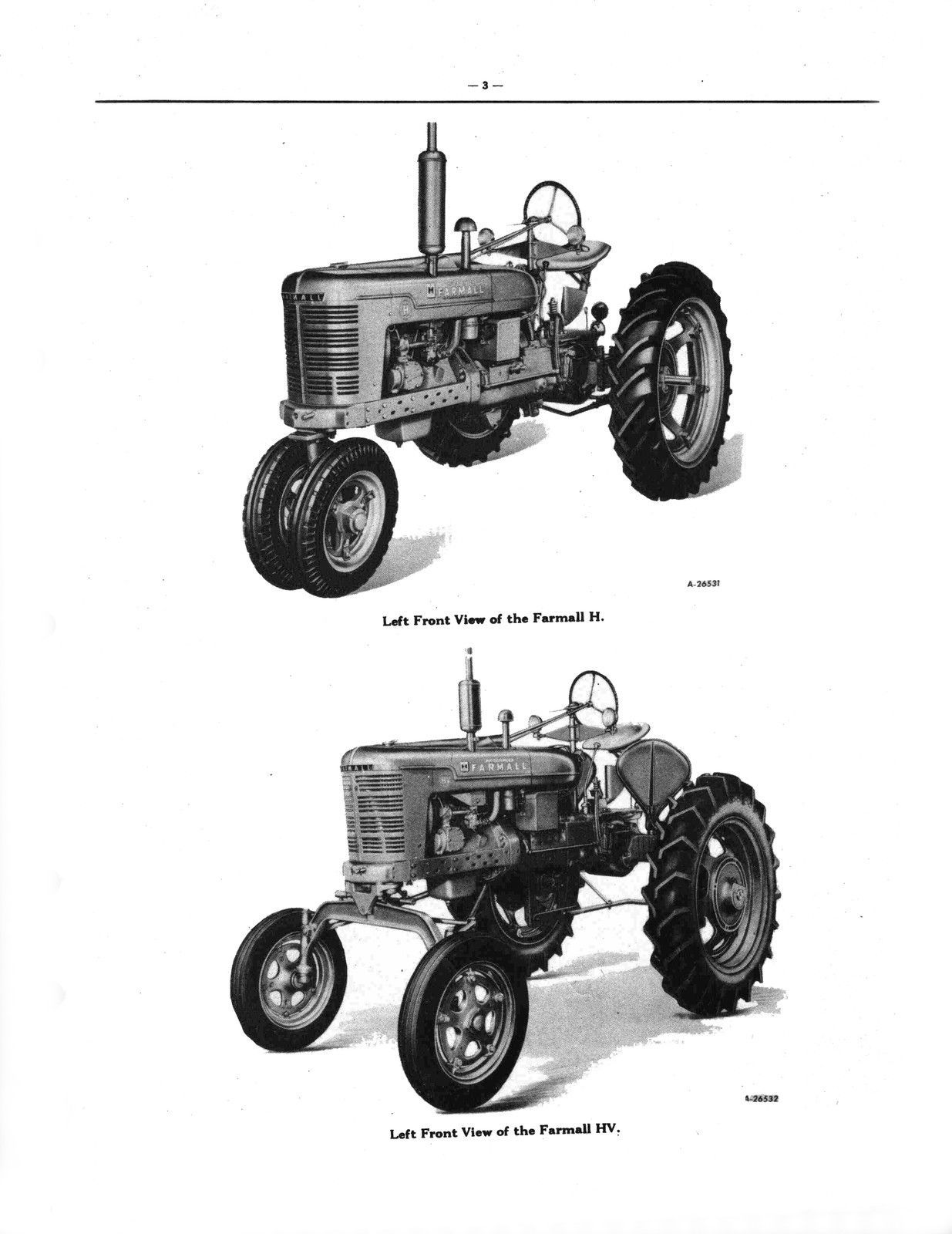 Farmall Tractor Parts : Farmall h hv tractor tractors parts catalog manual tc