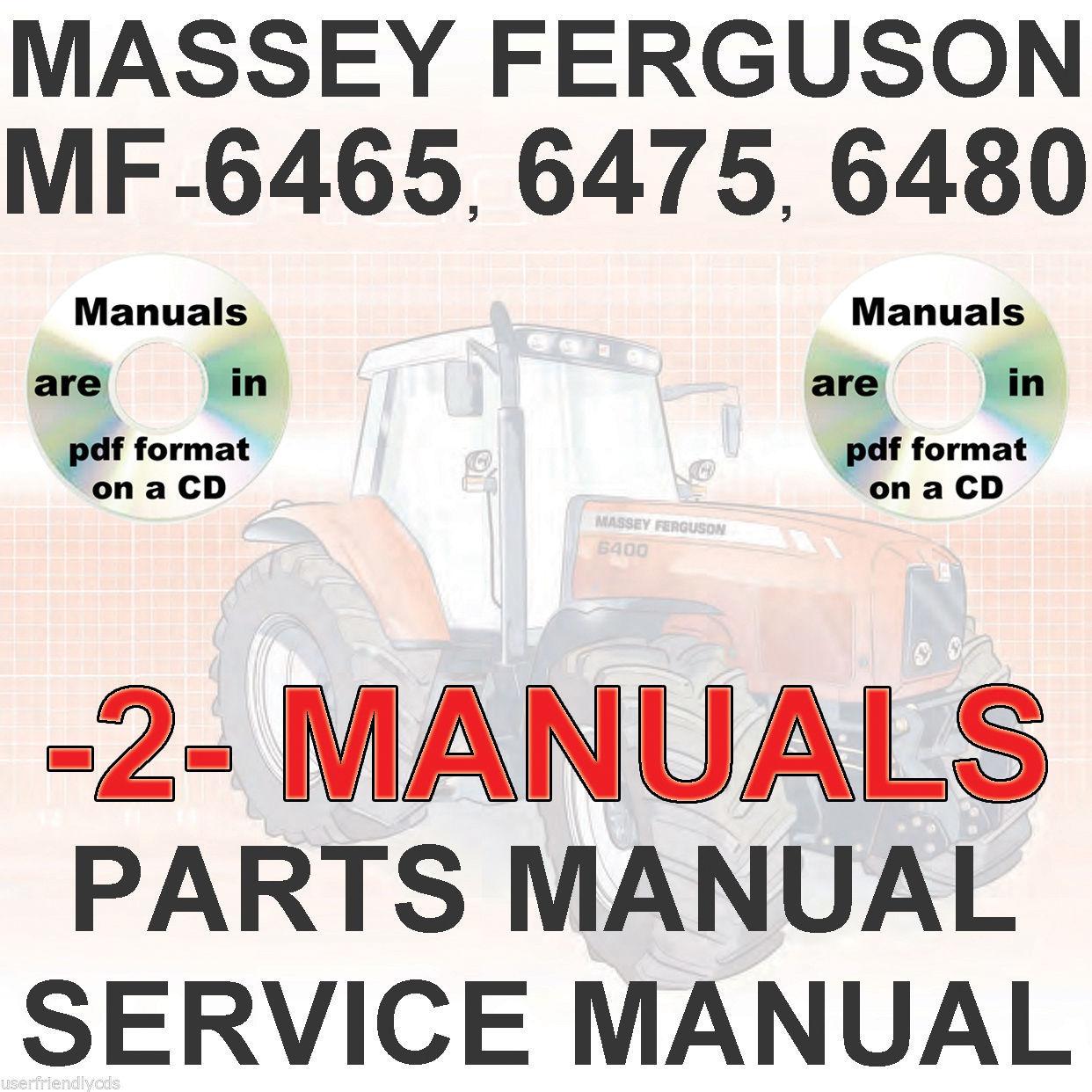 Massey Ferguson MF6465 MF 6465 Tractor SERVICE & PARTS Manual -2- MANUALS CD
